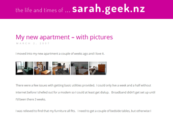 screenshot of blog homepage